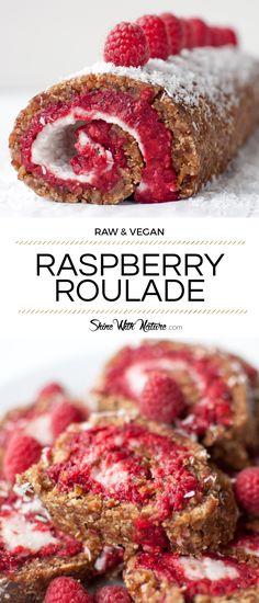 Raw Raspberry Roulade with Coconut Cream raw vegan recipe Low Fat Desserts, Raw Vegan Desserts, Raw Vegan Recipes, Vegan Dessert Recipes, Vegan Sweets, Raw Food Recipes, Raspberry Roulade, Raw Food Diet, Vegan Food