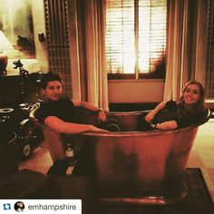 """#12Monkeys @emhampshire with @repostapp. ・・・ Bath buddies (or a matalas-schull giant #moscowmule MonkeyMule?) @terrymatalas @amandaschull #12monkeys…"""
