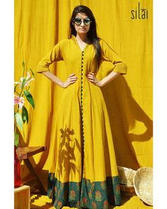 Mustard maxi dress in natural dyed cotton fabric, with an ajrakh printed dark green border