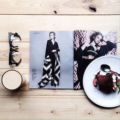 healthy breakfast, fashion magazine and a cup of coffee - that`s my perfect morning!