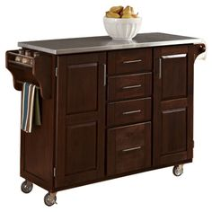Wood kitchen cart with four drawers and a stainless steel top.Product: Kitchen cartConstruction Material: Wood and sta...