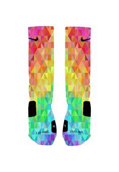 Custom Colorful Prism Socks Custom Nike Elite Socks by NikkisNameGifts on Etsy https://www.etsy.com/listing/196246494/custom-colorful-prism-socks-custom-nike