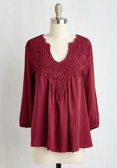 Happiest Gal on Earth Top - 3/4 Sleeves. Achieve bohemian-style bliss in this distinct and breezy burgundy top. #red #modcloth
