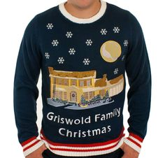 Christmas Vacation Lighted Griswold House Ugly Tacky Sweater (Blue) #Festified #Crewneck
