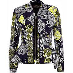 Navy blue abstract print peplum jacket ?55.00