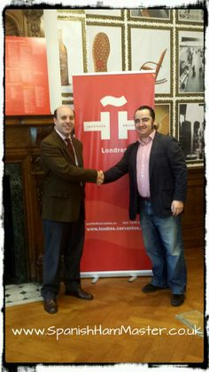 """The agreement has been signed this morning. Spanish Ham Master will be giving a Master Class at the Instituto Cervantes of London and also 6 seminars about """"Cultura y Corte de Jamón"""". We are really proud to be there and share with this institution all our knowledge about Jamón Culture. You will have all the infornation very soon. Picture with MR. JULIO CRESPO MACLENNAN Director of I.C. of London Jamón Iberico de Bellota, Cebo y Jamón Serrano. www.spanishhammaster.co.uk"""