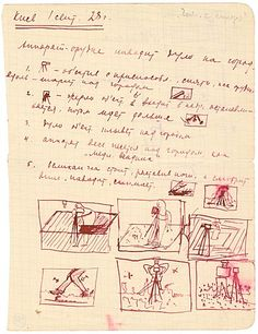 """Dziga Vertov: Kiev 1 Sept[ember] [19]28: Storyboards """"In several respects, this dated page, which has been cleanly torn out of a grey notebook with squared paper, constitutes a remarkable document deriving from Vertov's red pen."""""""