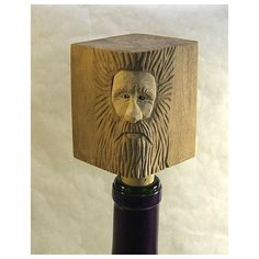 Wood Spirit Bottle Stopper Unique Gift Art Sculpture Carving Barware (470 MXN) ❤ liked on Polyvore featuring home, kitchen & dining, bar tools, wood bottle stopper and wooden bottle stoppers