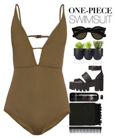 """""""One Piece Swimsuit"""" by blushingfreckles ❤ liked on Polyvore featuring Surya, Authentics, Zimmermann, Beau Coops, Windsor Smith, GHD and onepieceswimsuit"""