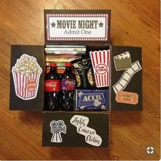 movie night box You are in the right place about DIY Gifts Here we offer you the most beautiful pictures about the DIY Gifts just because you are looking for. When you examine the movie night box part Diy Best Friend Gifts, Bf Gifts, Diy Gifts For Boyfriend, Homemade Gifts For Friends, Homemade Birthday Gifts, Boyfriend Presents, Cute Gifts For Friends, Care Package Ideas For Boyfriend Just Because, Boyfriend Birthday Ideas Creative