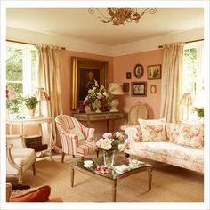 Classic living room, pretty colors.