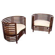 Pair of Oriental Mid Century Modern Rosewood Kidney Shape Lounge Chairs