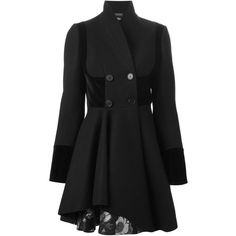 Alexander McQueen double breasted folded drape coat (26,630 CNY) ❤ liked on Polyvore featuring outerwear, coats, jackets, black, double-breasted coat, black flare coat, black coat, flared coat ve alexander mcqueen