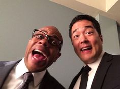 Tim kang and Rockmond Dunbar on the set of season 7 of The Mentalist. See, we all knew Cho could smile!! :)