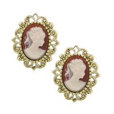 Behold a beautiful maiden cameo earring set adorned in vintage brass tone filigree and deep carnelian.