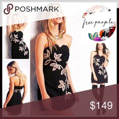 """❗️1-HOUR SALE❗️FREE PEOPLE Strapless Dress 💟NEW WITH TAGS💟 RETAIL PRICE: $250  FREE PEOPLE Strapless Dress   * Light-catching floral shadow appliqué texture  * Textured pleated bodice, sweetheart neckline  * Lined  * Approx 27"""" long  * Tagged size 12 (L), will approx fits sizes 10-12  * Hidden zip closure & no slip bodice band   Material: 100% Rayon Color: Black Combo SEARCH WORDS# Bodycon body conscious bandage embellished  🚫No Trades🚫 ✅ Offers Considered*✅ *Please use the blue 'offer'…"""