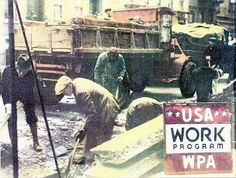 Unskilled laborers working for the Works Progress Administration, a New Deal agency that employed millions of people during the Great Depression. Putting the unemployed to work through public programs is a key tenet of social liberalism.