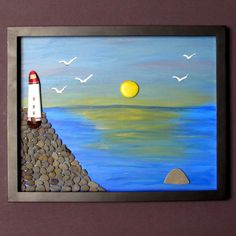 Original abstract painting of Lighthouse by BeachWalkCreationsCA, $89.00