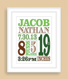 Printable DIY Baby Birth Stats 8x10 Newborn Personalized Custom Boy Art Print Gift - Digital JPEG PDF File. $15.00, via Etsy.