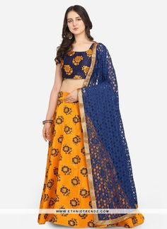 We are to breathe life into your aspirations and to make a mark in the world of style. You are sure to make a strong fashion statement with this blue jacquard lehenga choli. This attire is encrafted with weaving work. Comes with matching choli and dupatta. (Slight variation in color, fabric & work is possible. Model images are only representative.) Mustard Wedding, Banarasi Lehenga, Yellow Lehenga, Celebrity Gowns, Lehenga Collection, Lehenga Choli Online, Net Saree, Latest Sarees, Jacquard Weave