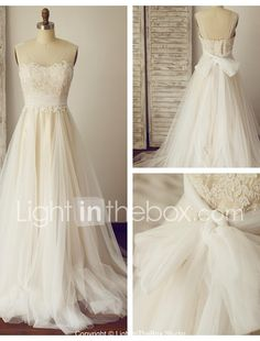 I like this. Do you think I should buy it?A-line Wedding Dress - Chic & Modern Wedding Dress in Color Sweep / Brush Train Square Lace Tulle with Ruche #04380451