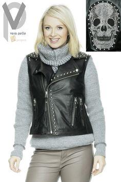 Vera Pelle Lederweste Hüftlang Leder Luxus Strass Totenkopf Schwarz Apropos