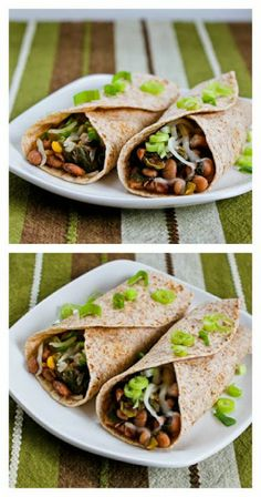 Slow Cooker Spicy Vegetarian Pinto Bean and Chard Burritos from Kalyn's Kitchen; love these slightly-spicy burritos with beans and chard. I use low-carb tortillas to make it SBD friendly. [via Slow Cooker from Scratch] Slow Cooker Beans, Slow Cooker Pressure Cooker, Slow Cooker Recipes, Crockpot Recipes, Crockpot Dishes, Vegetarian Bean Recipes, Vegetarian Wraps, Vegetarian Burgers, Veggie Burgers