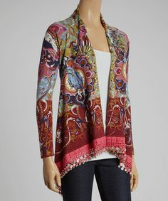 This cardi is a surefire wardrobe staple offering a sleek update to the classic look with its eye-catching bohemian print and sumptuous cotton-wool blend.