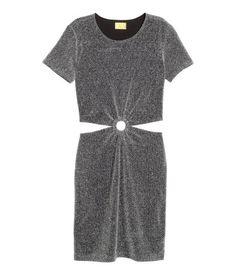 Kjole med glitter | Sort/Sølv | Ladies | H&M DK