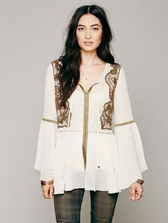 FOR HER:: FREE PEOPLE Golden Moments Tunic || Coolspotters.com   ~~  Love the combo of the sheer ivory with gold details