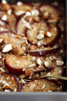 Cinnamon Plum Baked Oatmeal with Toasted Almonds | Girl Versus Dough. Could make with peaches as well