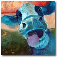 Look at this Lucy Cow Gallery-Wrapped Canvas by Courtside Market Cow Canvas, Canvas Wall Art, Canvas Prints, Cow Drawing, Drawing Animals, Cow Decor, Wall Decor, Cow Art, Animal Paintings