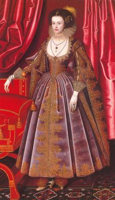 Susan Feilding, née Villiers by William Larkin, ca 1616 England.  married Sir William Feilding, later Earl of Denbigh. 5 children, all nobles or married to same.  Lady of the Bedchamber to Henrietta Maria.  Fled to France during Civil War, converted to Catholicism and lost her English property.  Died in France.
