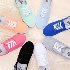 Women-Lace-Up-Canvas-Solid-Flat-Moccasins-Loafers-Sneakers-Shoes-12-Candy-Colors