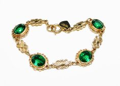14K Gold Overlay Bracelet - Green Rhinestones -Goldtone Art Deco Style Filigree - Signed Sentiments and 14K G.O. Vintage #jewelry #vintage #fashion #etsymntt #etsyretwt #jewellery