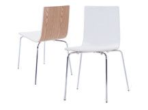 2 x Dolly Dining Chairs, Ash and White