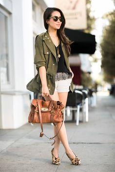 楽ちんフライデー::シルクのミリタリージャケット&レオパードパンプス   FashionLovers.biz