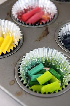 Crayons in muffin tins,  Bake until the top layer is mostly melted and smooth.  10-20 minutes at about 250 degrees.  Baking time depends on how full they are.  Let crayons cool over night before removing them.