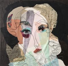 Mixed media. Steel wire portrait. Paper collage. Isabel. 50x50 cm.