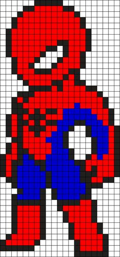 Resultado de imagen para pixel art spiderman - Visit to grab an amazing super hero shirt now on sale! Kandi Patterns, Pearler Bead Patterns, Perler Patterns, Beading Patterns, Pony Bead Patterns, Bracelet Patterns, Perler Bead Art, Perler Beads, Pixel Art Dragon Ball