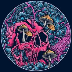 54 ideas for drawing tattoo skull behance Acid Trip Art, Acid Art, Kunst Inspo, Art Inspo, Fantasy Kunst, Fantasy Art, Wallpaper Caveira, Illustration Main, Skull Illustration