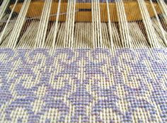 Diversified Plain Weave (Thick 'N Thin variation) work in progress on the loom, wool and pearl cotton