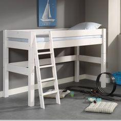 """Gr�ce � ce lit mi-hauteur 90x200 � la construction particuli�rement solide, dot� de barri�res larges et s�curisantes, lib�rez un grand volume de rangement sous le lit de votre enfant sans r�duire son espace de jeu ! Et soyez assur�(e) qu'il ou elle saura appr�cier le c�t� ludique de ce grand lit perch� en hauteur... D�tail non n�gligeable, le lit pourra plus tard �tre transform� en lit bas """"classique"""". Le sommier est fourni. Le matelas est propos� s�par�ment, voir la liste des ..."""