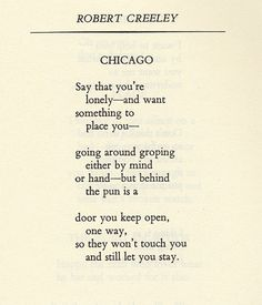 """Chicago"" by Robert Creeley"