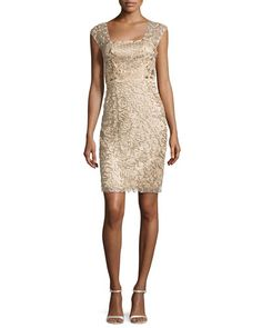 T96R4 Sue Wong Beaded Sheath Dress, Beige