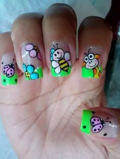 do for daughter Crazy Nail Art, Crazy Nails, Cute Nail Art, Fancy Nails, Cute Nails, Pretty Nails, My Nails, Animal Nail Designs, Green Nail Designs