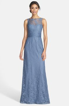 Amsale Illusion Yoke Lace Gown in Slate