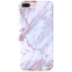 Amazon.com: iPhone 7 Plus Case, Shiny Rose Gold White Grey Marble... ($12) ❤ liked on Polyvore featuring accessories and tech accessories
