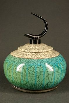 Traditional Raku Pottery by Ron Aubuchon. Gorgeous color, love raku |Pinned from PinTo for iPad|