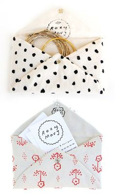 Fabric envelope-style pouches